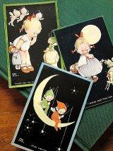 ピクシーと月と女の子 アトウェル カード 英国