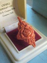 珊瑚色の指輪 コーラルカラーのセルロイドリング
