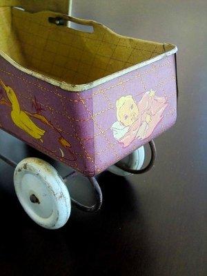 画像2: ブリキの乳母車 ドール用サイズ ベビーカー テディベアにも