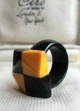 ベークライトのリング クリームコーン×ブラック コンビネーションデザイン