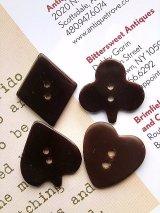 トランプ ベークライトボタン 4種セット ハート クローバー チョコレートブラウン