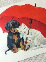 傘の下の2ひき アンティーク 絵葉書 ヴィンテージのポストカード