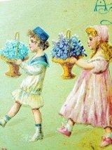 子供たちと花かご アンティークカード 2枚セット