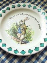 白ウサギの皿 不思議の国のアリス 英国 プールポタリー社