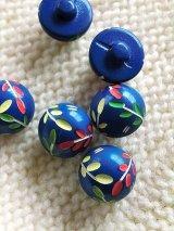 美しいネイビーブルー リーフ模様の刻み 蒼いウッドボタン