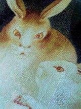 セピア色の兎 古布のフレーム仕立て