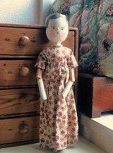 アンティーク ペグドール 29cm 人形の家 花柄ドレス