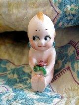 アンティーク キューピー 薔薇を抱えて ローズオニール ミニチュア オールビスク