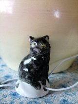 黒猫のドリップキャッチャー ティ-ポット ミニチュア ドイツ 陶器
