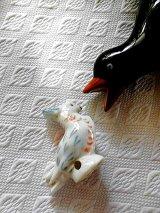 オウム ドリップキャッチャー ピンクッション ミニチュアバード ドイツの陶器